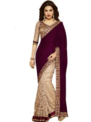 Buy Bikaw Bollywood Replica Maroon And Golden Velvet Saree (202727) online