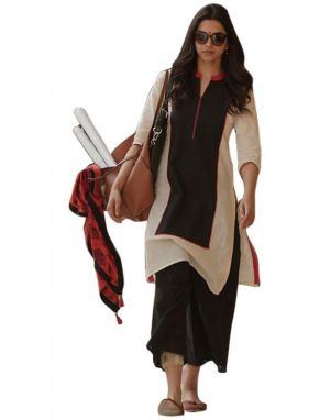 Buy Fashion Studio Cream Cotton Bollywood Semi-Stitched Kurti online
