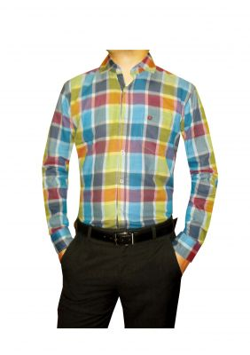 Buy New Granix Men's Formal Multicolor Full Sleeves Slim Fit Checkered Shirts online