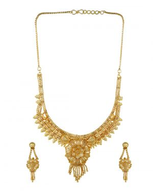 Buy Gold Plated Stylish Flower Design Necklace Set online