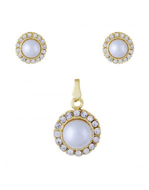 Buy Stylish Pearl With Cz Stones Studded Pendant Set - 3s0014 online