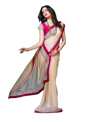 Buy Stylee Lifestyle Cream Embroidered Saree 1019 online