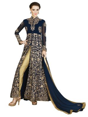Buy Stylee Lifestyle Navy Blue Embroidered Anarkali Suits online