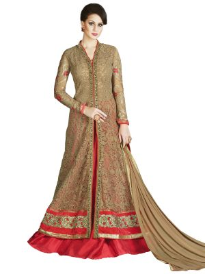 Buy Stylee Lifestyle Beige Embroidered Anarkali Suits 1031 online