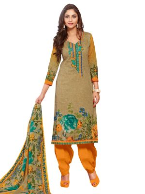 Buy Stylee Lifestyle Beige Embroidered Dress Material 1034 online