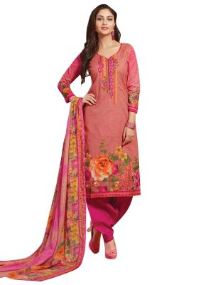 Buy Stylee Lifestyle Pink Embroidered Dress Material 1039 online