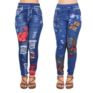Buy Ziva Fashion Girls/womens Blue Poly Cotton Printed Pull On Ankle Length Leggings/jeggings (pack Of 2) ( Code - J11-j12 ) online