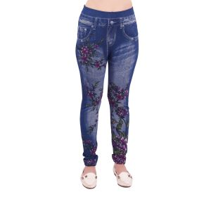 Buy Ziva Fashion Blue Printed Denim Free Size Jeggings online