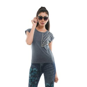 Buy Ziva Fashion Women's Grey T-Shirt with Pearls online