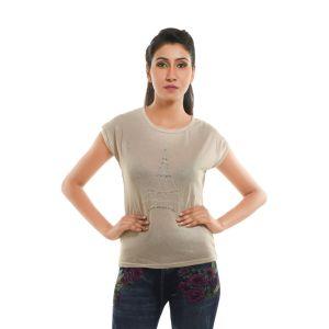 Buy Ziva Fashion Women's Cream Eiffel Tower T-shirt With Pearls - T111 online