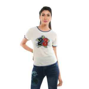 Buy Ziva Fashion Women's White T-Shirt with Patchwork online