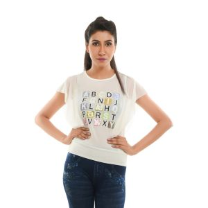 Buy Ziva Fashion Women's White Graphic Print Top - T76 online