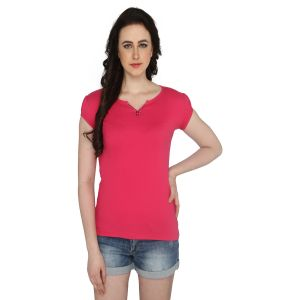Buy P-nut Women's V Neck Solid Casual T-shirt Om1021f online
