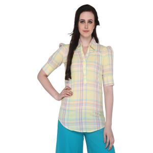 Buy P-nut Women's Cotton Checkered Casual Top Om334a online