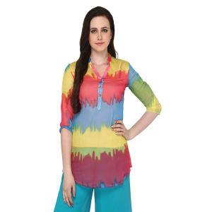 Buy P-nut Women's Polyester Tie & Dye Casual Top Om369b online
