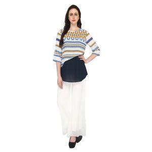 Buy P-nut Women's Polyester Geometric Print Casual Top Om502b online