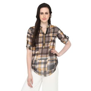 Buy P-nut Women's Polyester Checkered Casual Top Om510b online