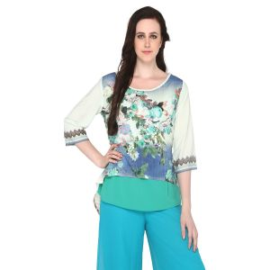 Buy P-nut Women's Polyester Floral Print Casual Top Om512a online