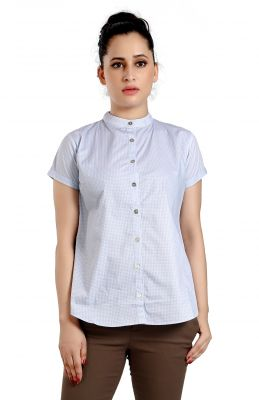 Buy Ladybond Light Blue Cotton Short Sleeve Shirt For Women Ids-2235 online