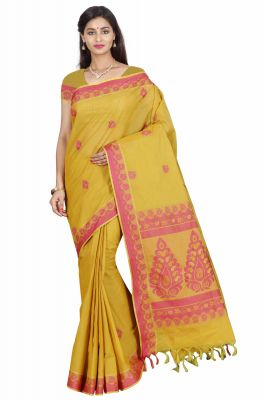 Buy Marjoram Colors Yellow Color Pure Cotton Saree (mads5016) online