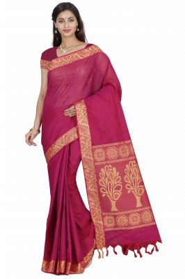 Buy Marjoram Colors Maroon Color Pure Cotton Saree (mads5022) online