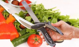 Buy Easy Chops And Slices Vegetables Fruits Cutter Scissor Clever Cutter 2 In 1 Chopper online