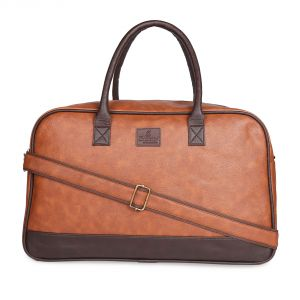 Buy Saccus Pu Leather Duffle Bag (tan Color) Travel Duffel Bag online
