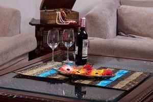 Jodhaa Table Mats Set Of 8 In Velvet And Brocade Blue / Brown
