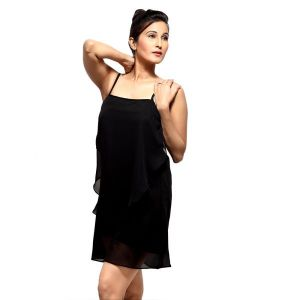 Buy Loco En Cabeza Black Frilled Strap Short Dress For Women - (product Code - Czwd0027) online