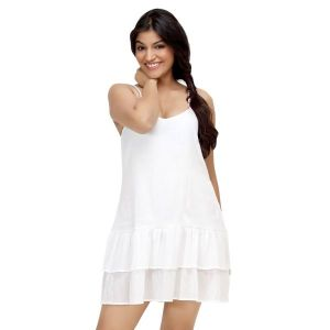 3a31bf34505 Buy Loco En Cabeza White Sleeveless Tiered Short Dress For Women - (product  Code -