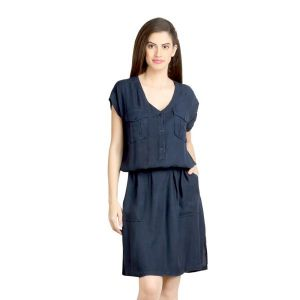 Buy Loco En Cabeza Navy Viscose Rayon Dress-(product Code-czwd0082) online