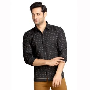 Buy London Bee Men's Cotton Pin Print Long Sleeve Slim Fit Shirt - ( Product Code - Mlslb0084 ) online