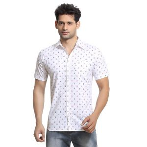 Buy London Bee Mens Cotton Japan Print Short Sleeve Slim Fit White Shirt - (product Code - Msslb0011) online