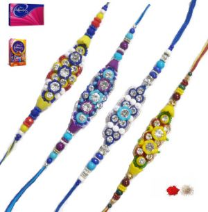 Buy Exclusive Four Designer Rakhi Set online