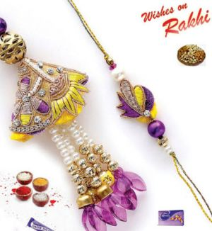 Buy Elite Zardosi Bhaiya Bhabhi Rakhi Set online
