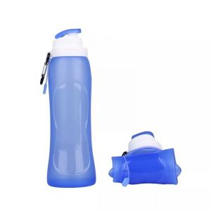 Buy Water Bag 500ml Travel Sport Flexible Eco-friendly Silicone Foldable Drinkware Water Bottle (blue) online