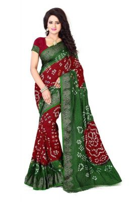 Buy Nirja Creation Green, Maroon Color Art Silk Bandhani Saree Nc-009ssd online