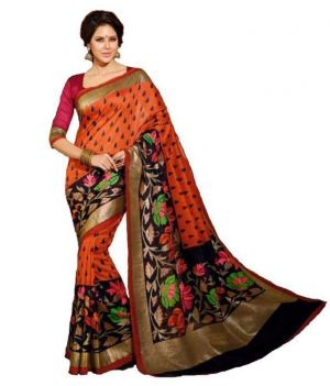 Buy Vibhaa Printed Orange Bhagalpuri Silk Saree - ( Product Code - Rnsrvb20003 ) online