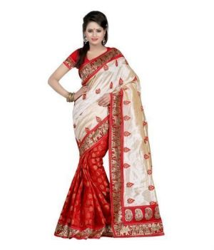Buy Kasturi Art Silk Off White-red Party Wear Saree online