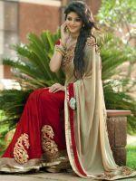 Buy Sellective Bollywood Replica Nakashi Cream And Maroon Coloured Chiffon Saree - (code -pt-1241) online
