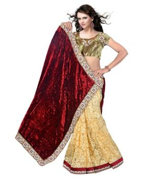 Buy Fabdiamond Maroon Colored Vevet & Net Saree (velvet Brown) online
