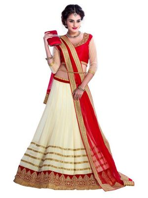 Buy Greenvilla Designs Cream & Red Embroidered Silk Designer Lehenga Choli With Blouse online