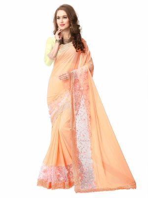 Buy Shree Mira Impex Orange Georgette Saree With Blouse Piece (mira-13) online