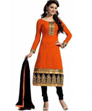 Buy Shree Mira Impex Orange Embroidered Cotton Salwar Suit Dress Material (smix-096) online