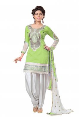 Buy Shree Mira Impex Green Embroidered Cotton Salwar Suits Dress Material (smix-105) online
