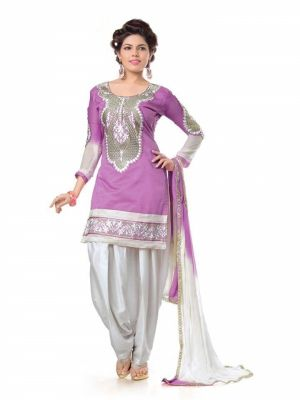 Buy Shree Mira Impex Purple Embroidered Cotton Salwar Suits Dress Material (smix-108) online