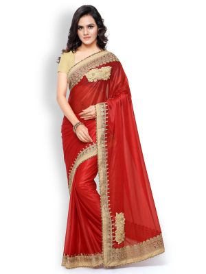 Buy Shree Mira Impex Red Embroidered Lycra Saree Sari With Blouse Piece (mira-30) online
