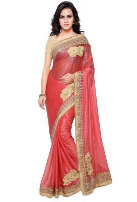 Buy Shree Mira Impex Peach Embroidered Lycra Saree Sari With Blouse Piece (mira-31) online