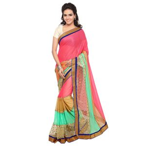 Buy Shree Mira Impex Pink Lycra Saree Sari With Blouse Piece (mira-21) online