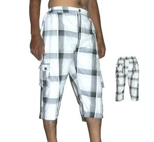 Buy 6 Pocket Cotton Mens Checks White Cargo online